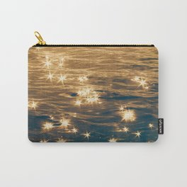 Sparkling Ocean in Gold and Navy Blue Carry-All Pouch