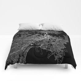 Sydney Black Map Comforters