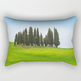 Beautiful spring minimalistic landscape with Italian Cypress on the green hills in Tuscany countrysi Rectangular Pillow