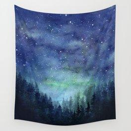 Watercolor Galaxy Nebula Northern Lights Painting Wall Tapestry