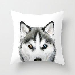 Siberian Husky dog with two eye color Dog illustration original painting print Throw Pillow