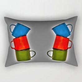 Vintage green, blue, red enamel mugs in modern look Rectangular Pillow