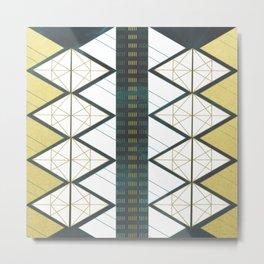 Modern Gold Aqua Geometric Pattern Metal Print
