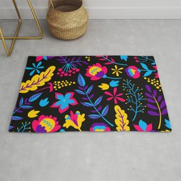Vintage Retro Neon Colors Hipster Grandma's Colorful Flowers Pattern Rug