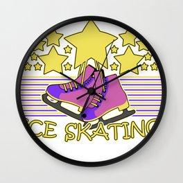 skating skating to skate gift skates ice Wall Clock