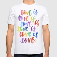 Love is love Ash Grey LARGE Mens Fitted Tee