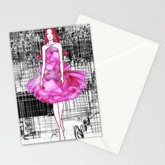 My rose dress fashion illustration concept. Stationery Cards