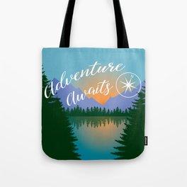 Adventure Awaits, Inspirational Landscape Tote Bag