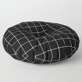 Grid Pattern Line Stripe Black and White Minimalist Geometric Stripes Lines Floor Pillow