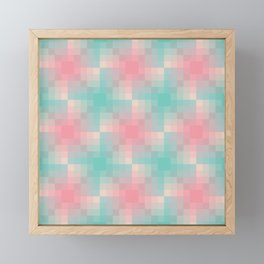Pastel mozaic gradient pattern in pink and cyan Framed Mini Art Print