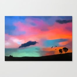 Painting of a landscape with colorful sky Canvas Print
