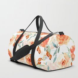 Living Coral Autumnal Roses Duffle Bag