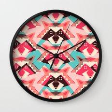 Raccoons and hearts Wall Clock