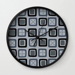 Mid Century Modern Squares Lines Slate Gray Black Wall Clock