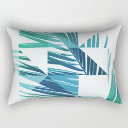 Geometric Palm Leave - blue & green Rectangular Pillow