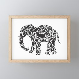 Elephant Flourish in Black Framed Mini Art Print