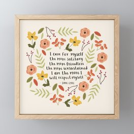 """Jane Eyre """"I Care For Myself"""" Quote Framed Mini Art Print"""
