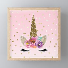 Floral Trendy Modern Unicorn Horn Gold Confetti Framed Mini Art Print