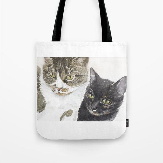 Two cats - tabby and tortie Tote Bag