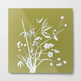 bamboo and plum flower in white on yellow Metal Print
