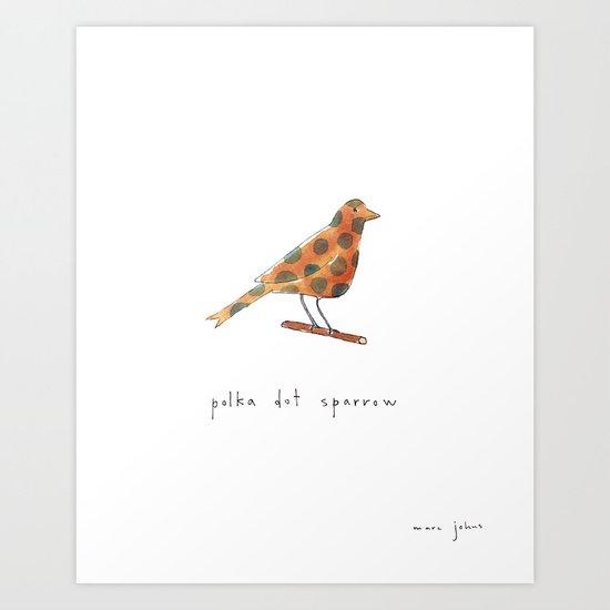 polka dot sparrow Art Print