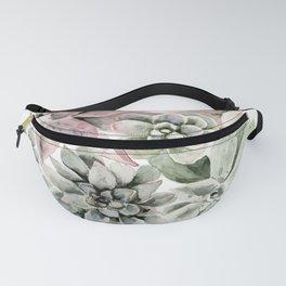 Circular Succulent Watercolor Fanny Pack