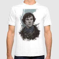 Sherlock MEDIUM White Mens Fitted Tee