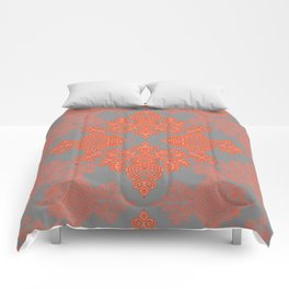 Burnt Orange, Coral & Grey doodle pattern Comforters