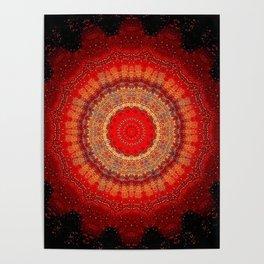 Vibrant Red Gold and black Mandala Poster