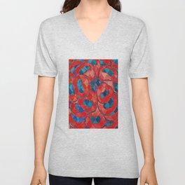Red and Blue Flower Pattern Unisex V-Neck