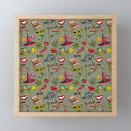 Wizard and Witch Pattern   Magic Sorcery Conjuring Framed Mini Art Print