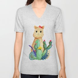 Watercolor Alpaca Llama Fluffy Cute with Cactus & Succulents Unisex V-Neck