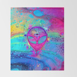Alien Melt - pink Throw Blanket