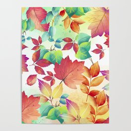 Watercolor Autumn Leaves Poster
