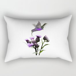 Violet Sabrewing Hummingbird and Thistle Rectangular Pillow