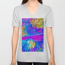 Extrusion effect - 3D Colorful spikes and cubes Unisex V-Neck