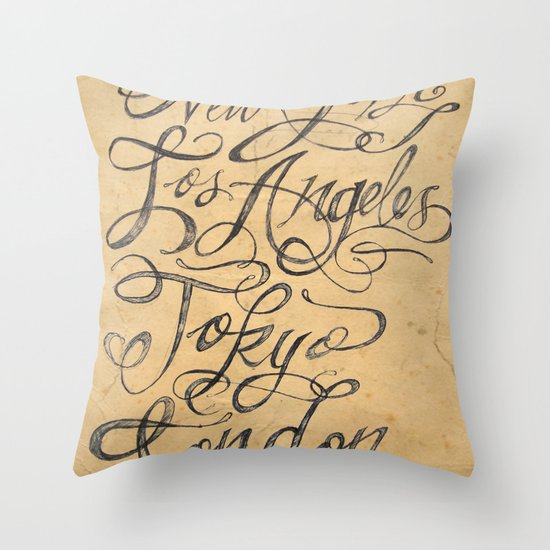 freehand cities Throw Pillow