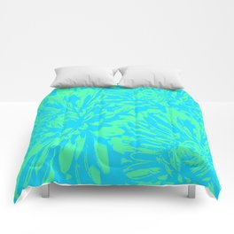 Ocean Blue Floral Abstract Comforters