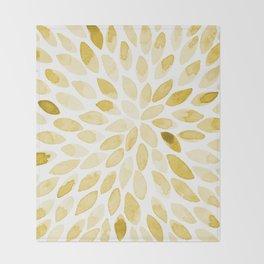 Watercolor brush strokes - yellow Throw Blanket