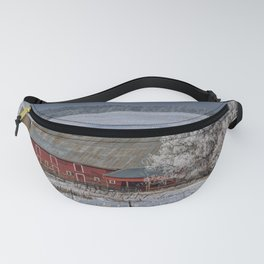 Red Barn in Winter Fanny Pack