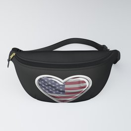 America Heart American Flag design Gift For USA Patriots Fanny Pack