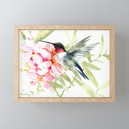 Hummingbird and Plumeria Flowers Framed Mini Art Print
