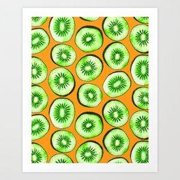 Kiwi slices on orange Art Print