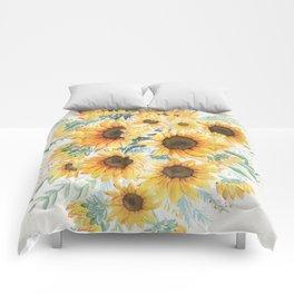 Loose Watercolor Sunflowers Comforters