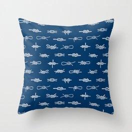 knots pattern sailing nautical knot tying illustration coastal decor Throw Pillow
