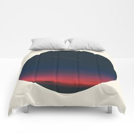 Pink Purple & Navy blue Sunset With Shooting Star Comforters