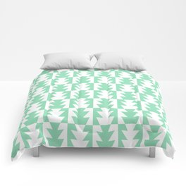 Art Deco Jagged Edge Pattern Mint Green Comforters