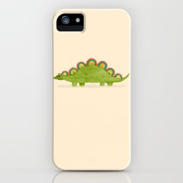 Rainbow colored dinosaur (stegosaurus) iPhone Case