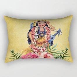 Hula Doll With Ukelele and Big Pink Flowers Rectangular Pillow