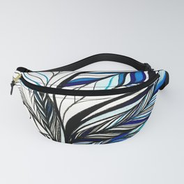 Black & Blue Lines Inspired By Ocean Fanny Pack